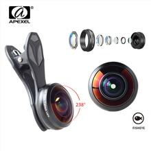 APEXEL 238 Gradi Occhio di Pesce Obiettivo Del Telefono Per il iphone Samsung S7 S8 Xiaomi Staccabile Ampio Angolo di Macchina Fotografica di HD Lenti Ad Alta di Vetro di qualità