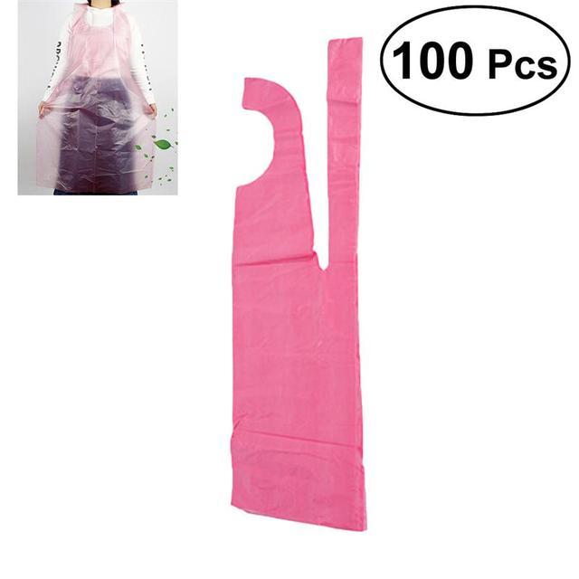 100 pcs נשים סינרי טהור צבע חד פעמי צוואר רצועת סינר עמיד למים מסעדת בית מטבח סינר