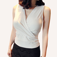 Shintimes Tank Top Women Vest Summer 2017 White Crop Tops Cropped Sexy Deep V Neck Top