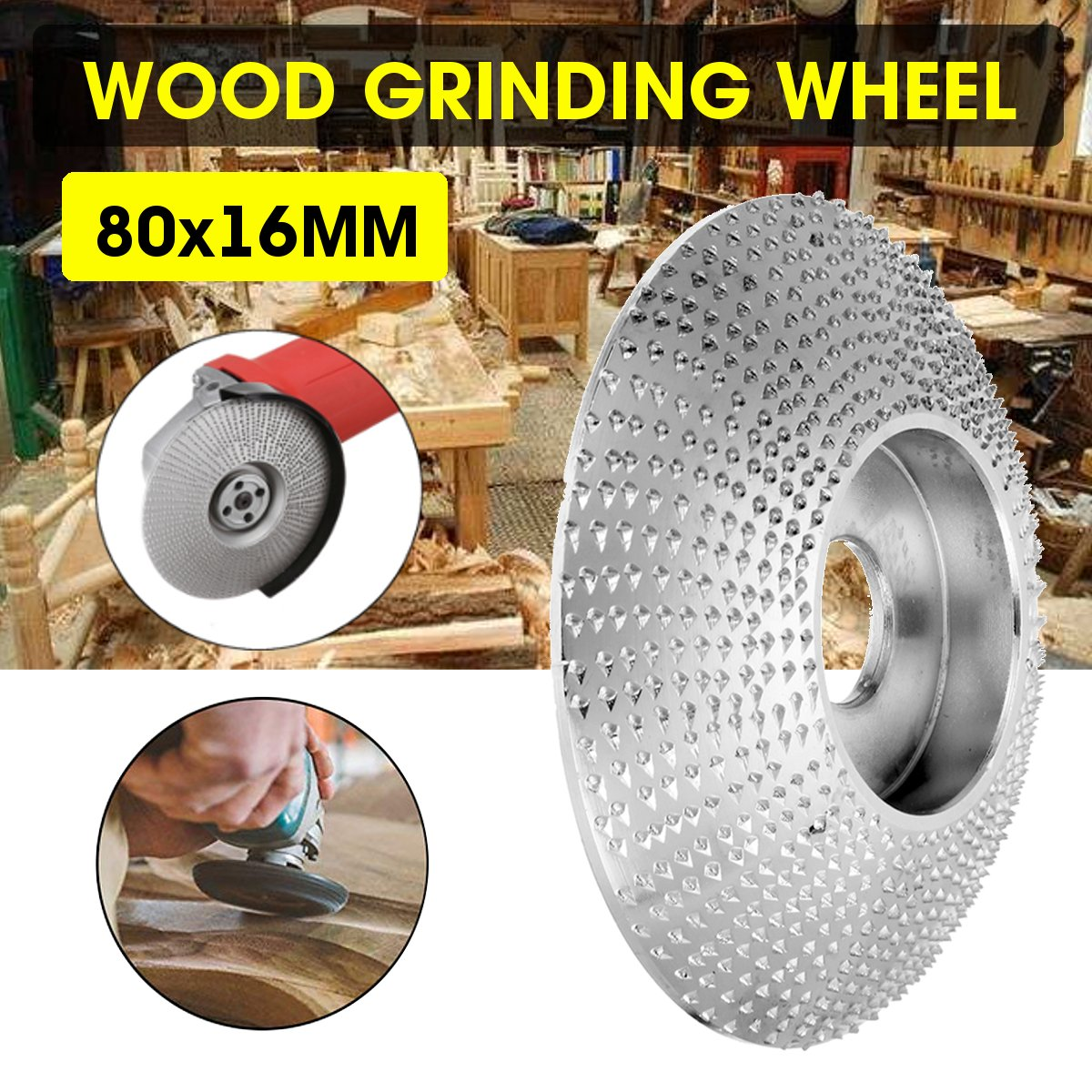 80mm Extreme Shaping Disc 16mm Bore Tungsten Carbide Wood Carving Disc Grinder Disc for 100 115 Angle Grinder Woodworking Tool80mm Extreme Shaping Disc 16mm Bore Tungsten Carbide Wood Carving Disc Grinder Disc for 100 115 Angle Grinder Woodworking Tool