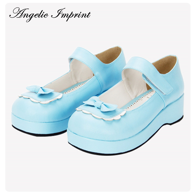 Sky Blue/Red Leather Princess Girl Sweet Lolita Wedge Mary Jane Shoes blue sky cashmere blue sky cashmere кашемировый кардиган с шелком 160842
