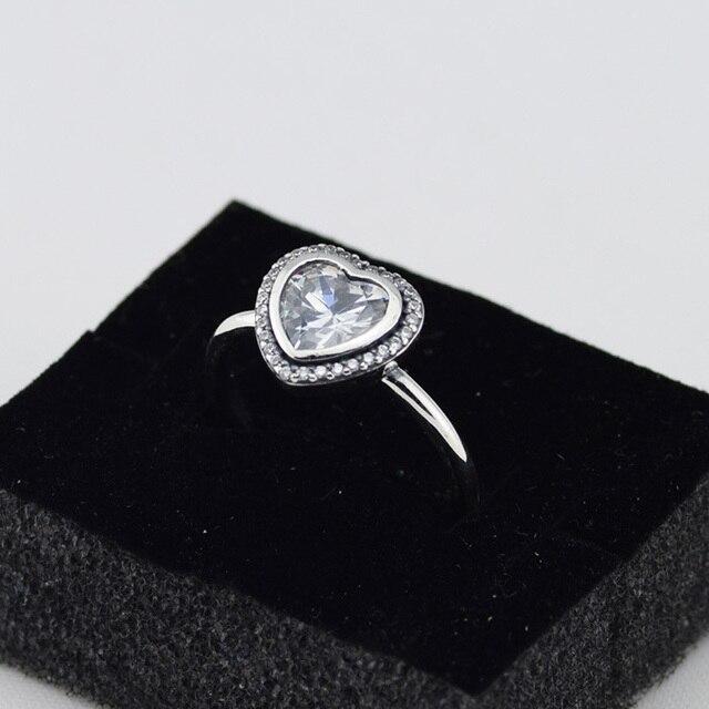 925 Серебряные Ювелирные Изделия Сердце Кольца с Четкими Кубического Циркония Бесплатная Доставка