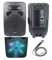 STARAUDIO 15 3500W Professional Powered/Active DJ PA USB BT FM Speaker W/ LED Light 1 Wired Microphone SML 15RGB