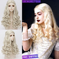 New Movie Alice in Wonderland White Queen Wig Women Long Blonde Curly Cosplay Costume Wig + Free Wig Cap