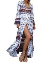 купить  Wide Sleeve Ethnic Summer Beach High Slit Evening Party Maxi Long Dress Cover Up по цене 1363.85 рублей