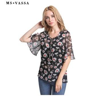 Chiffon Summer shirt tops female print ladies tops loose