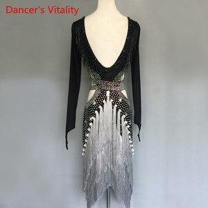 Image 4 - Women/GirlsLatin Dance Costumes Custom Diamond Beaded Tassel Dress long sleeves Latin Dance Stage Performance Clothing