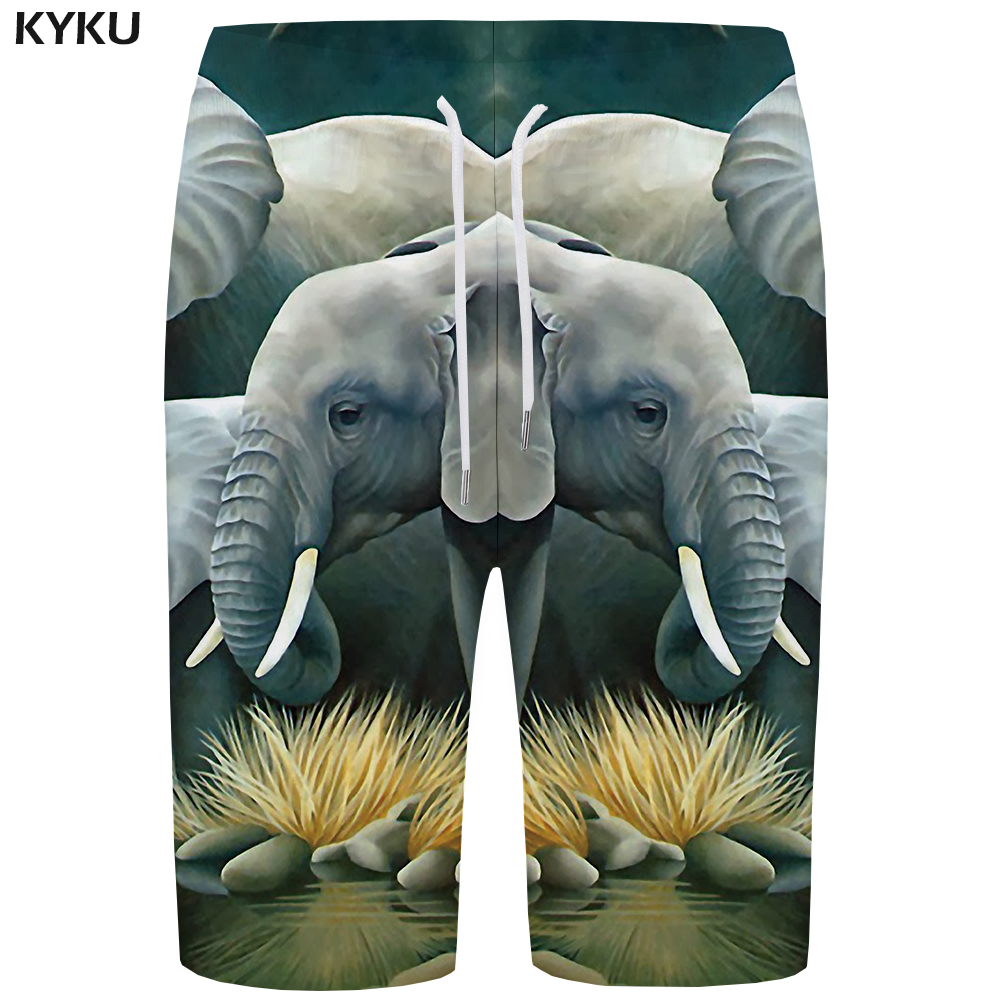 KYKU Elephant   Board     Shorts   Men Weed   Short   Pants Retro Swimwear 3d Printed   Shorts   Beach Phantom Animal Mens   Shorts   Quick Silver