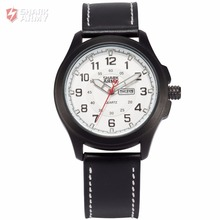 Shark Army Calendar Display White Dial Leather Strap Relogio Analog Sport Military Montre Homme Wrist Men Quartz Watches/SAW121