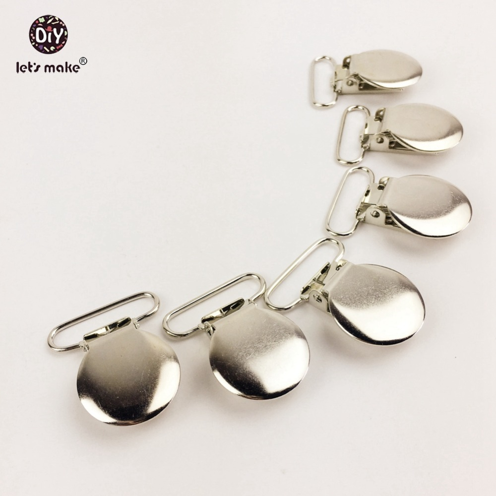 Let's Make Pacifier Clips 50PCS Round Metal Pacifier Holder Clips Flat Back Baby Pacifier Clip DIY Material