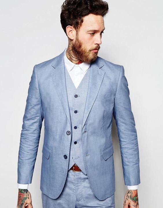 2017 Bleu clair Marié Smokings Pour Le Mariage De Plage 3 pièce Hommes Bal  Dîner Costumes Meilleur Homme Costume Blazer Décontracté (veste + Pantalon  + ... 940d7a9abfe