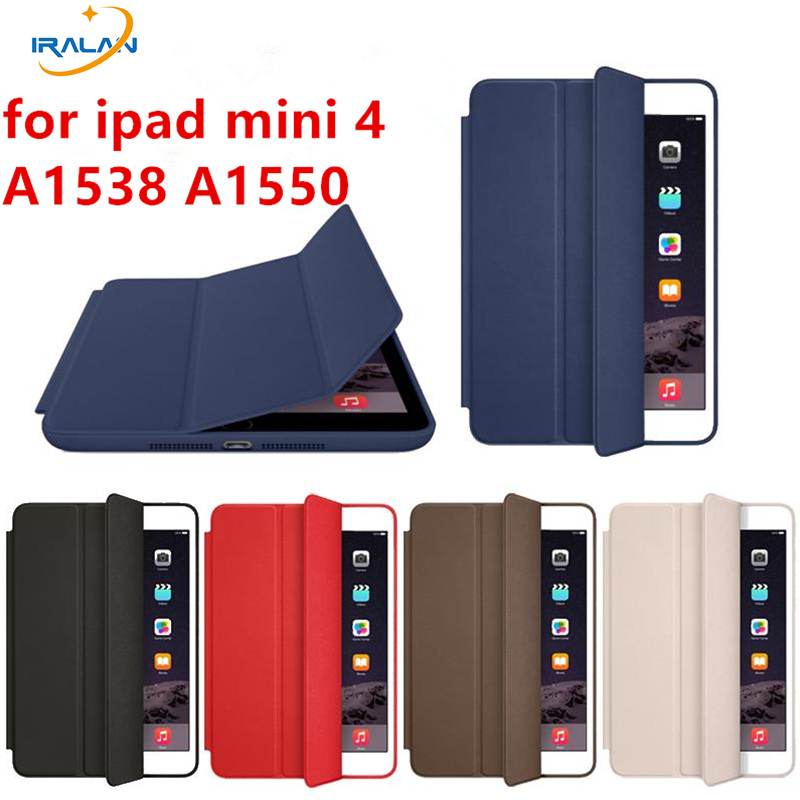 цены Official 1:1 Funda Smart Cover for Apple IPad Mini 4 7.9 inch PU Leather Magnetic Case for IPad Mini 4 A1538+screen film+stylus