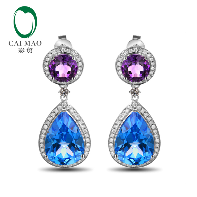 Special Earrings 18KT Gold 14.88ct Natural Topaz & Amethyst Diamond Classicl Drop Earrings