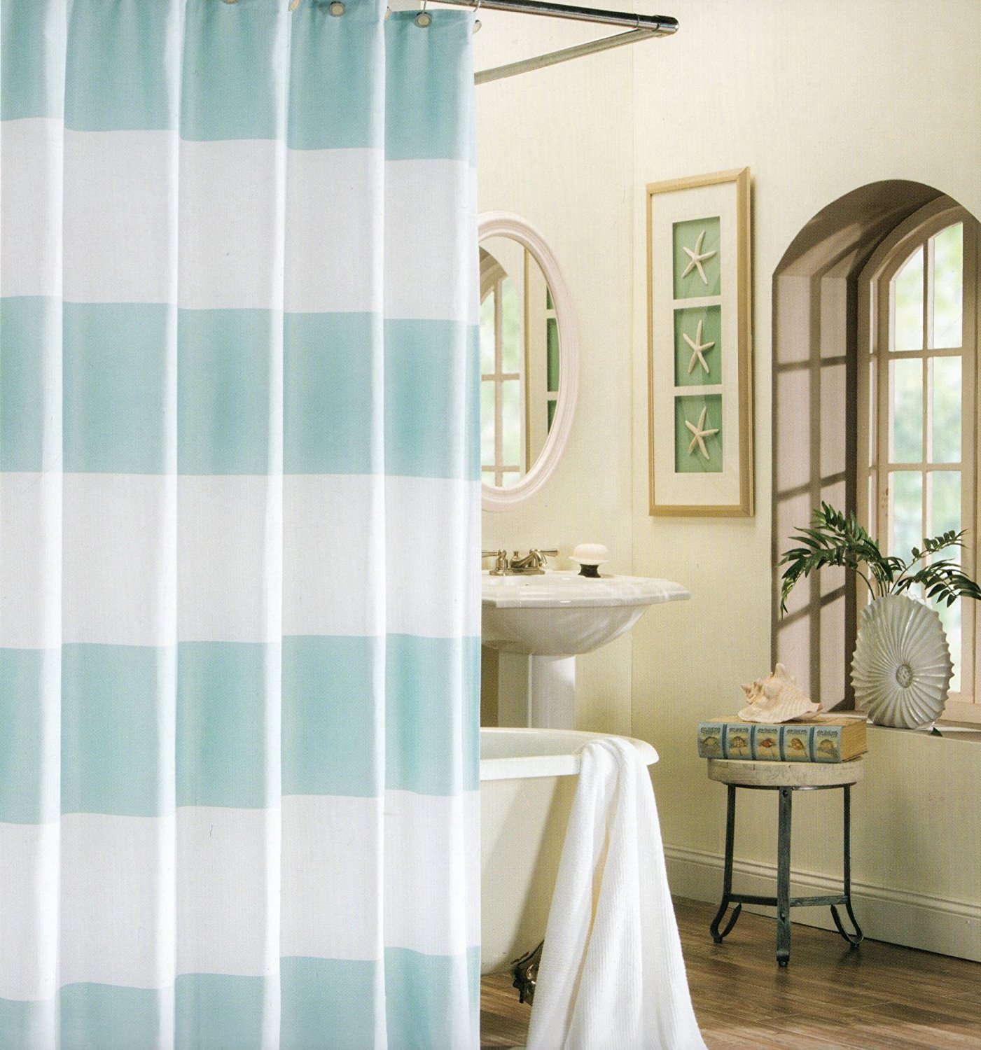 Memory Home 100 Polyester Shower Curtain Wide Stripes Fabric Shower Curtain Turquoise Navy Blue Beige Turquoise 66x72inch Fabric Shower Polyester Shower Curtainshower Curtain Aliexpress