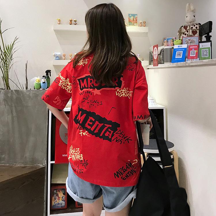 T-shirts Women Graffiti BF European Style Loose Harajuku Hip Hop Streetwear Chic Couple Clothes Unisex Daily Tshirt Womens Soft 92