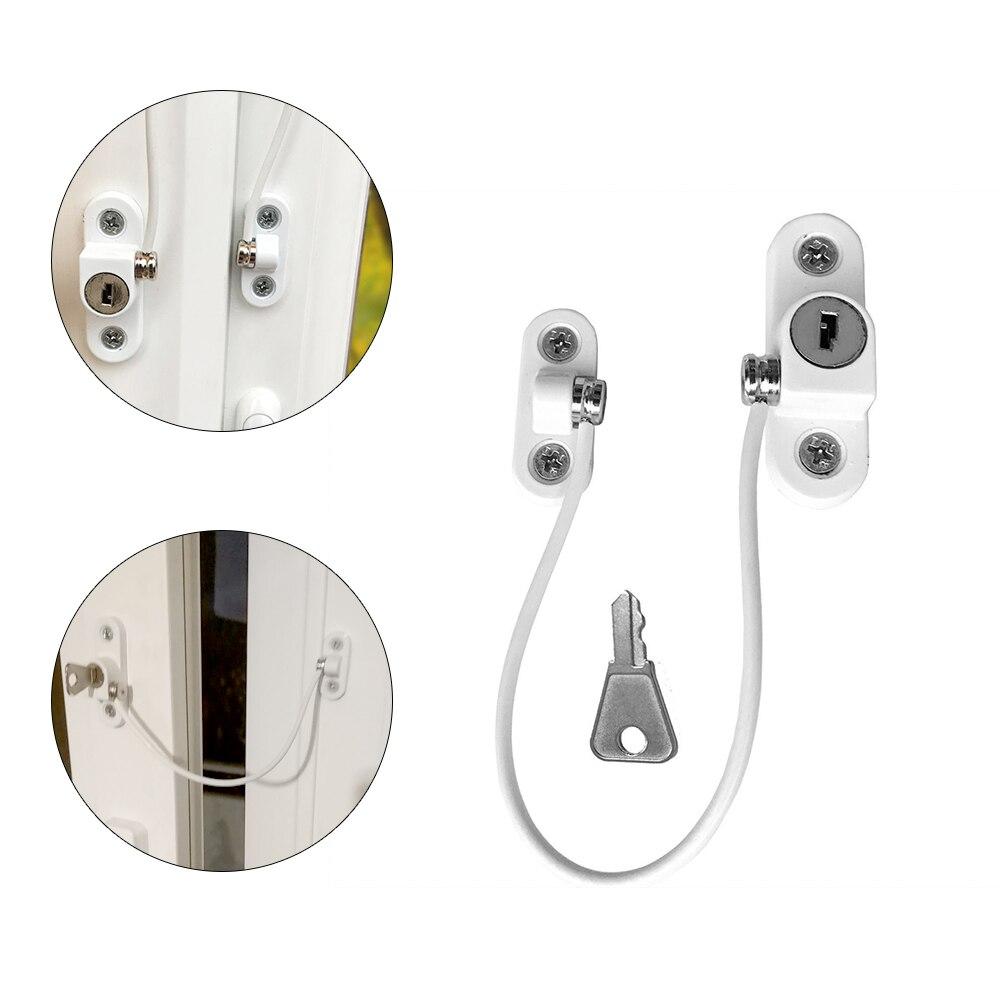 2 Pcs Twisted-pair Door Window Locks Restrictor Stainless Steel Kids Security Window Limit Lock Prevent Falling Safety Key Locks