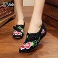 Мода цветы вышивка китайская женская обувь стиль случайные Холст квартир женщин simple сексуальная квартиры estilo чино дамы обувь