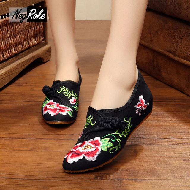 Fashion flowers embroidery chinese shoes women style casual Canvas women flats simple shoes sexy flats estilo chino ladies shoes