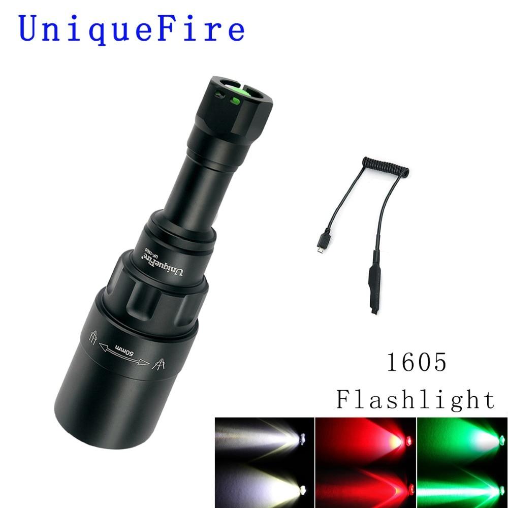 UniqueFire 1605 T50 XRE LED lampe de Poche (Rouge/Blanc/Vert Clair) 3 Modes 240 Lumens Torche Zoomables Lampe En Aluminium avec Queue de Rat