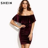 SheIn Womens Dresses New Arrival Sexy Club Dresses Burgundy Ruffle Off The Shoulder Short Sleeve Velvet