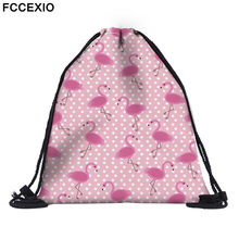 FCCEXIO New Fashion Women PINK Flamingo Backpack 3D Printed Travel Soft back Drawstring Bag School Feminina Girls Backpacks(China)