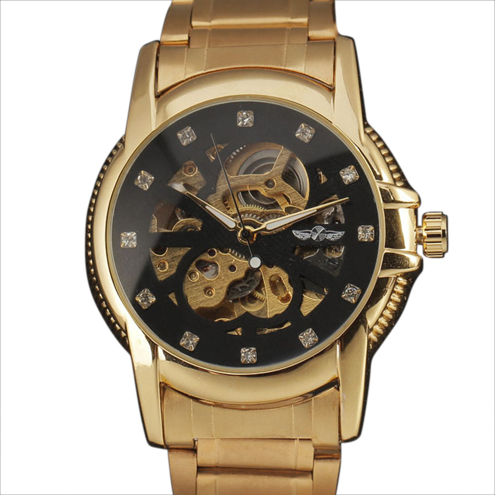 Top Luxury Brand WINNER Men Gold Case Automatic Watch Mechanical Sketeton Clock Diamond Dial Full Steel Band Male Wristwatches forsining automatic men s watch luxury brand militry wristwatch mechanical watch arabic numerals dial gold cuff chain band clock