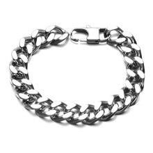 HIP Hop Titanium Steel Chain & Link Cuban Bracelets Biker Silver Color Jeans Buckle Curb Bracelet Bangles For Men Jewelry