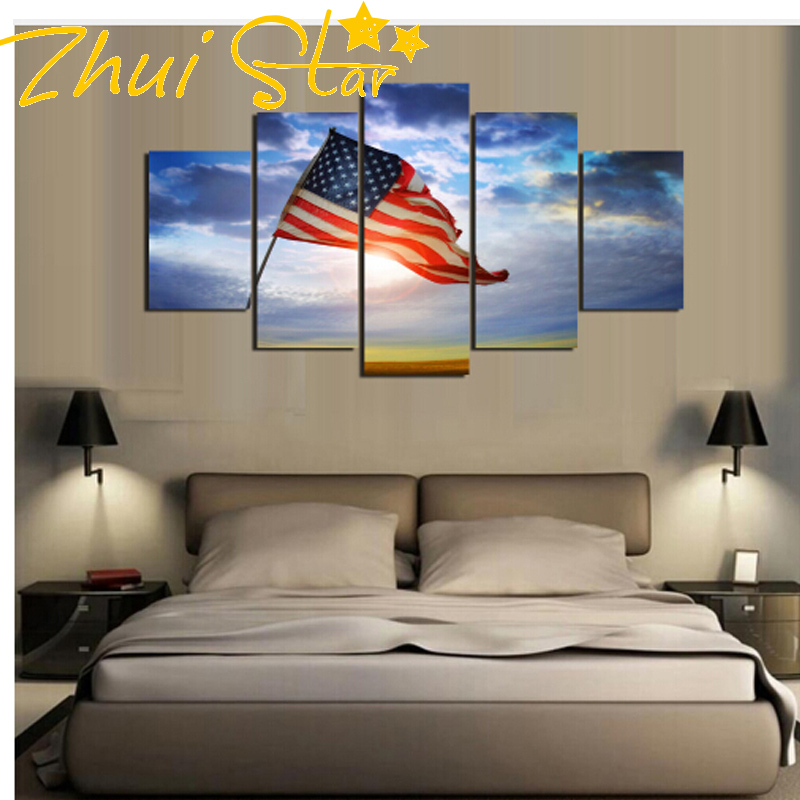 Full drill 5p brand design 5 pieces of American flag flying under blue sky Mural art Diamond picture 5Ddiy modern home wall de
