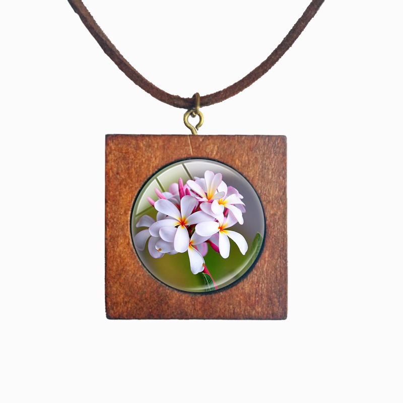 Beautiful Flower Plumeria Wood Square Necklace Mother Daughter