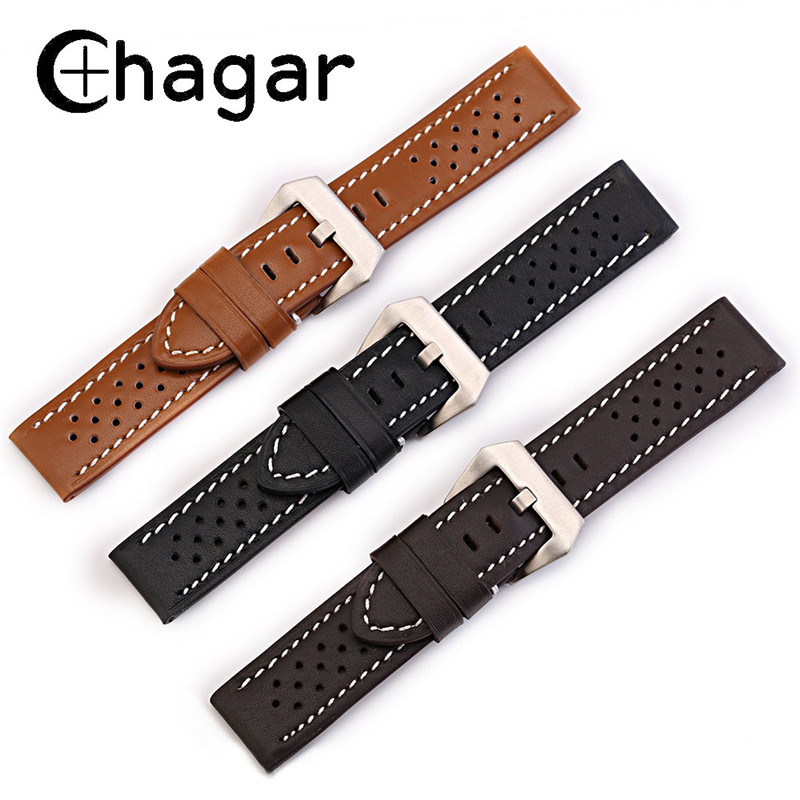 Breathable Genuine Calf Leather Watchband Sports WristWatch strap 20mm 22mm 24mm 26mm handmade watch Bracele accessories for men eache 20mm 22mm 24mm 26mm genuine leather watch band crazy horse leather strap for p watch hand made with black buckles