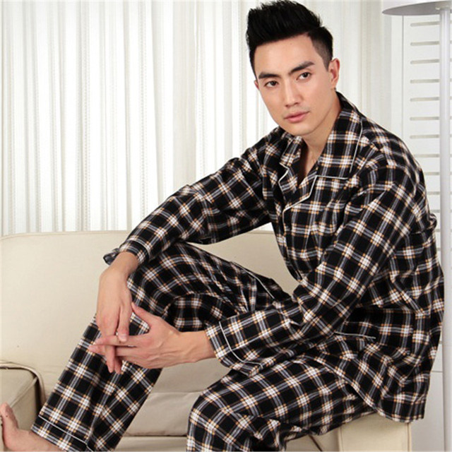 Pajamas Set Men Spring And Autumn Cotton long-Sleeved Sleepwear Plaid Velvet Cloth Pyjamas Cardigan Men Lounge Pajama Sets