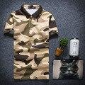 Горячие Продажа 2016 Новая Мода Мужская Поло Рубашки Высокого качества военный камуфляж человек рубашка Slim Fit С Коротким Рукавом Мужская Одежда М-3XL