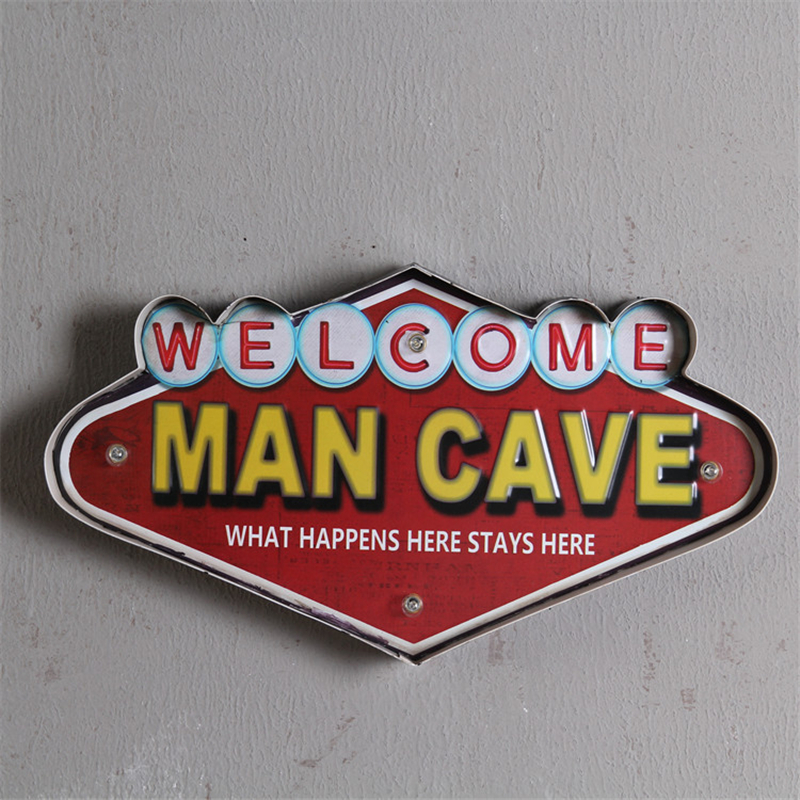 Welcome Man Cave Vinatge LED Metal Neon Signs Decorative Bar Pub Home Wall Decoration illuminated Cafe Signboard Hanging Sign image