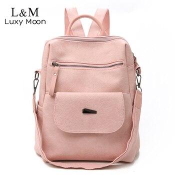 493db503134b Для женщин кожаный рюкзак женский школьные рюкзаки для девочек-подростков  Винтаж большой многофункциональный Mochila Сплошной сумка черный .