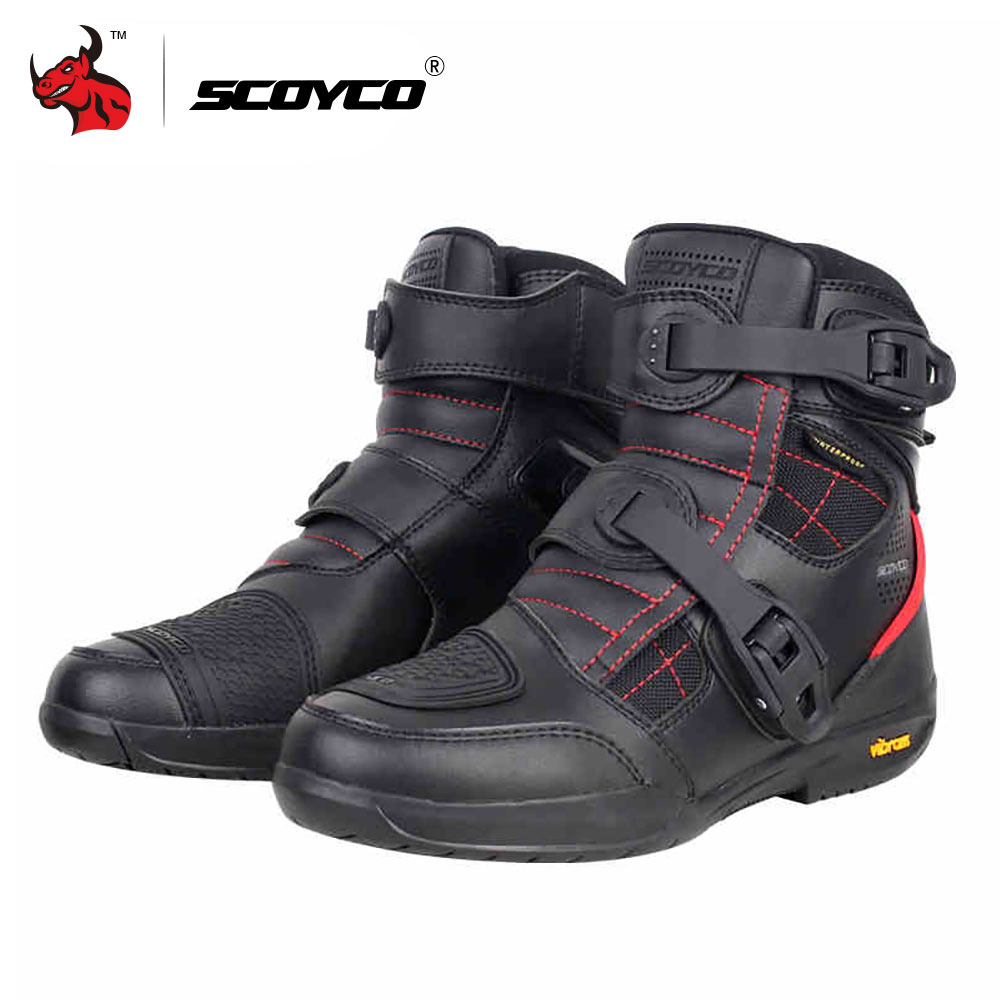 SCOYCO Motorcycle Boots Waterproof Moto Boots Men Microfiber Leather Motocross Off Road Racing Motorbike Riding Shoes