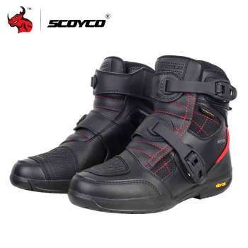 цена на SCOYCO Motorcycle Boots Waterproof Moto Boots Men Microfiber Leather Motocross Off-Road Racing Motorbike Riding Shoes Black