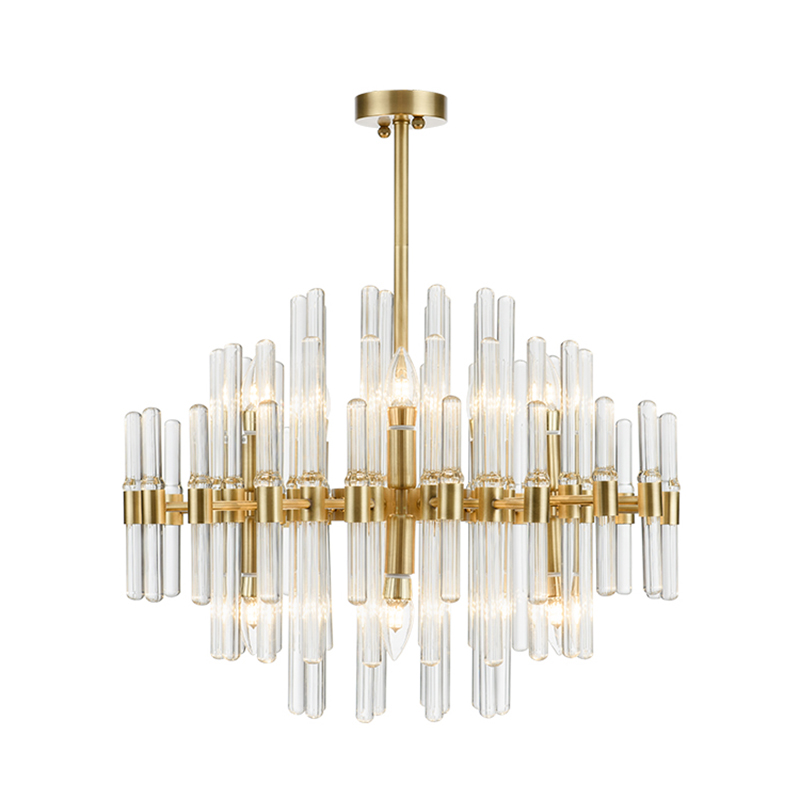Post modern light luxury Real brass pendant lights Nordic simple creative Living dining room Clear Crystal rod LED hanging lamp nordic modern 10 arm pendant light creative led hanging lamps tube rod toolery for living room dining room lamp home decoration page 9