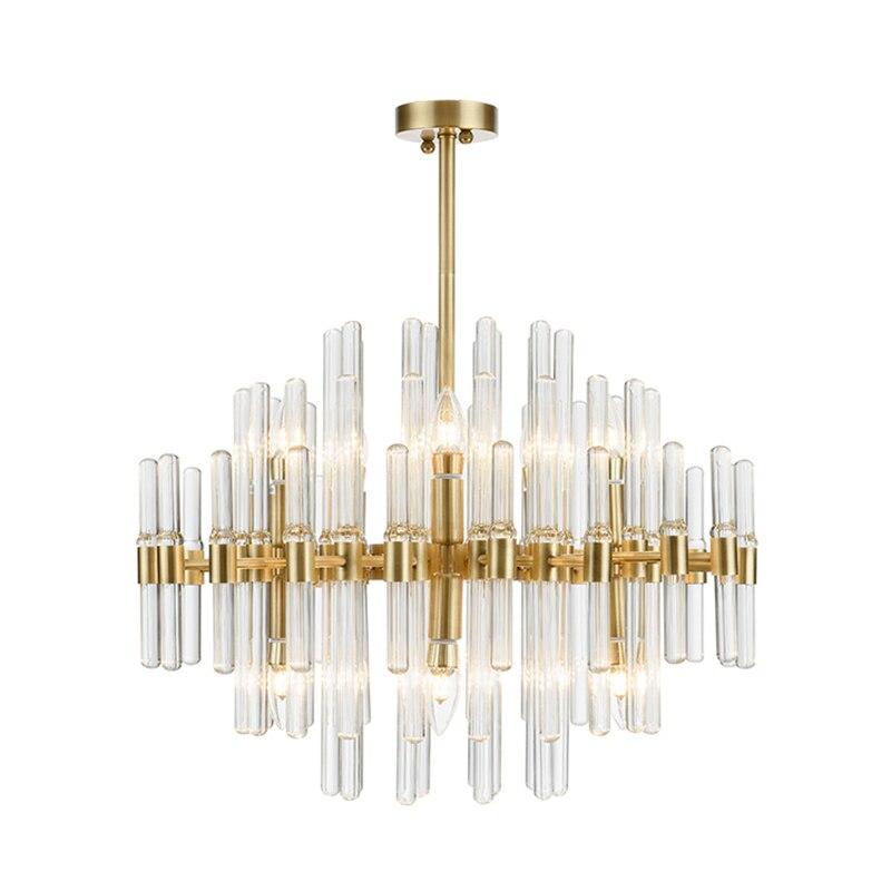 Post moderne lumière de luxe en laiton véritable pendentif lumières nordique simple créatif salon salle à manger cristal clair tige LED suspension lampe
