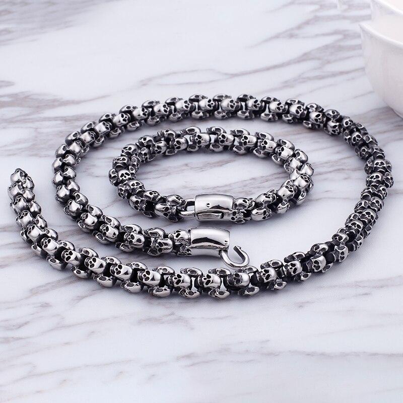 Très populaire 60 cm Long crâne colliers pour hommes en acier inoxydable brossé poli charme lien chaînes mâle gothique bijoux 2019