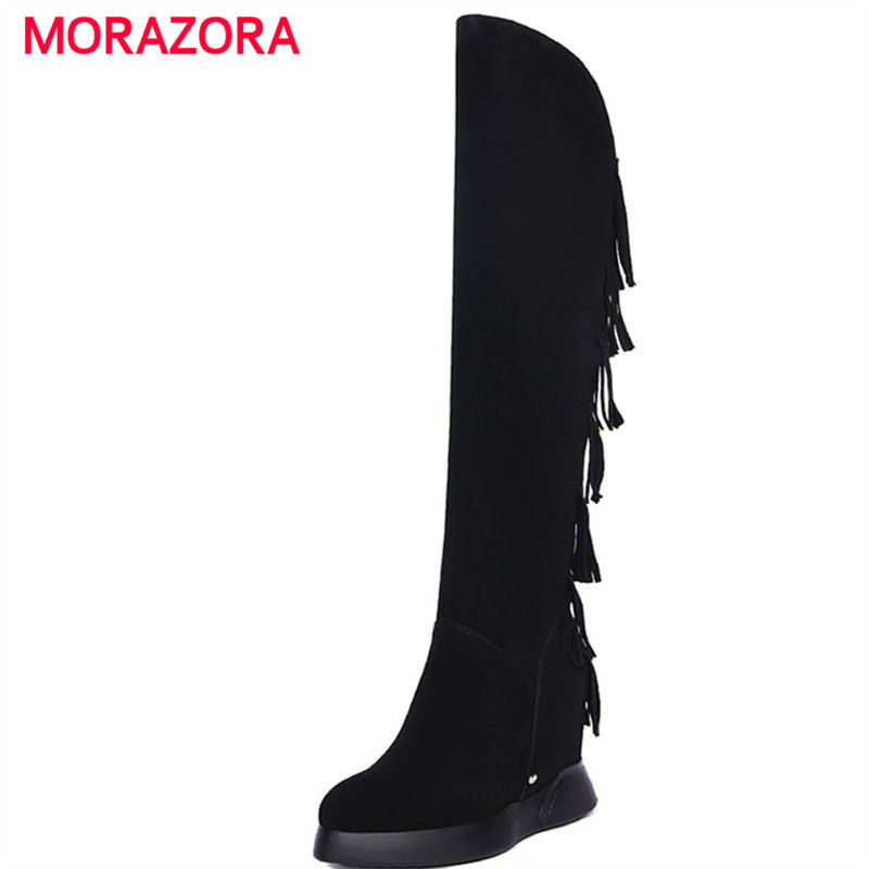 MORAZORA 2018 new autumn winter over the knee cow suede leather boots round toe super high heel boots wedges zipper women bootsMORAZORA 2018 new autumn winter over the knee cow suede leather boots round toe super high heel boots wedges zipper women boots