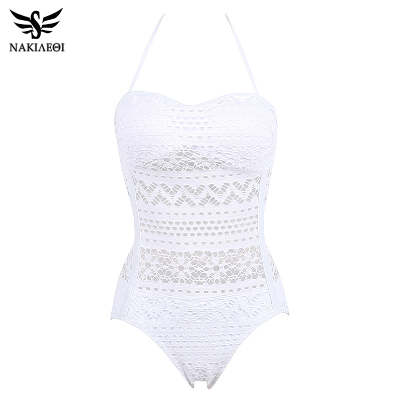 NAKIAEOI One Piece Swimsuit Plus Size Swimwear Women 2018 Sexy Beach Lace Crochet Monokini Swimsuit Retro Bathing Suit Swim Wear