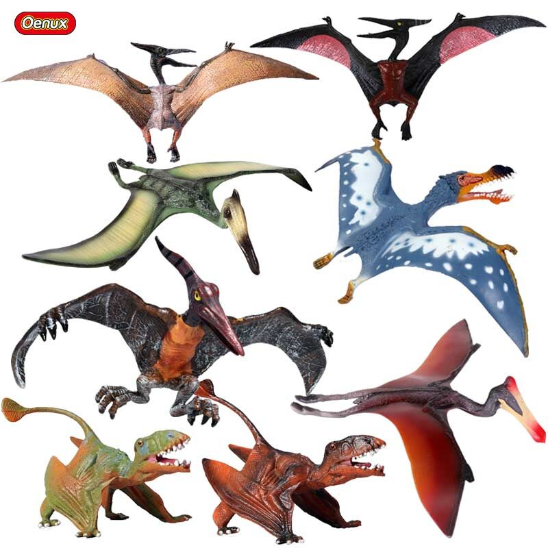 Oenux 8PCS New Pterosaur Pterosauria Bird Model Classic Jurassic Dinosaurs Pterodactyl PVC Action Figures Toy For