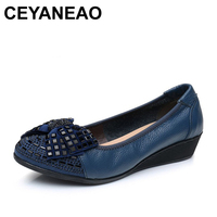 CEYANEAOSpring and autumn shallow mouth drill mother shoes leather soft the elderly with a single shoes casual comfortable women