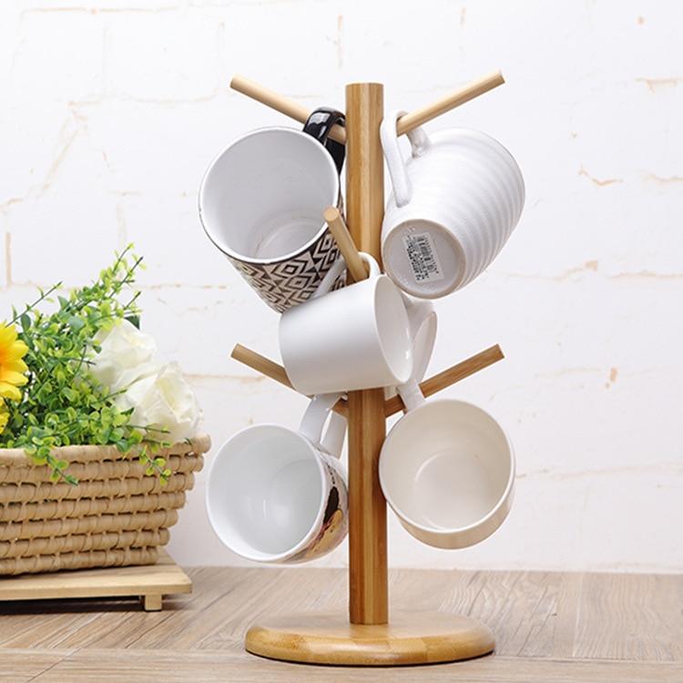 6 Hook Peg Wooden Hanging Tea Cup Coffee Mug Tree Rack