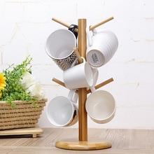 6 haken peg holz Hängen Teetasse Kaffeetasse Baum Rack Halter Küche Storage 18×35 cm