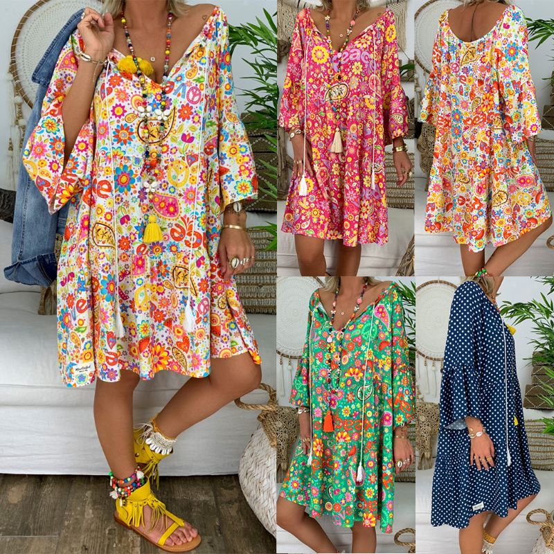 Summer Women Boho Floral Long Sleeve Dress Holiday Beach Shirt Dress Ladies Print Mini Dress Plus Size S-5XL