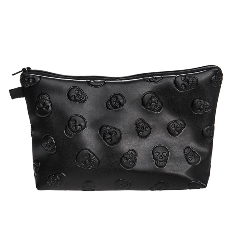 Skull Embossed Waterproof Leather Makeup Purse Wash Bag Organizer Pouch Pencil Case Container