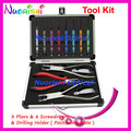 Professional Glasses Rimless Frames Repairing Tool With Drilling Holder 3 Pliers 8 Screwdrivers Kit Set PL073AP Free Shipping