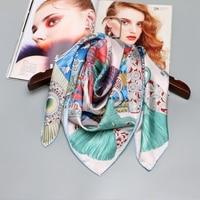 100% Silk Scarf Hijab Foulard Head Scarves for Hair Wrapping Large Square Silk Twill Scarfs Shawl Wraps Hand Roll 88x88cm