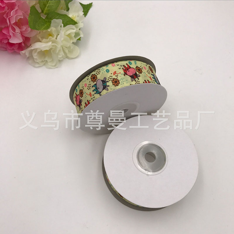 DIY Silk Bandwidth 2.5cm Digital Printing Sublimation Line Cattle Cartoon Ribbon Clothing Accessories Material Edge Belt